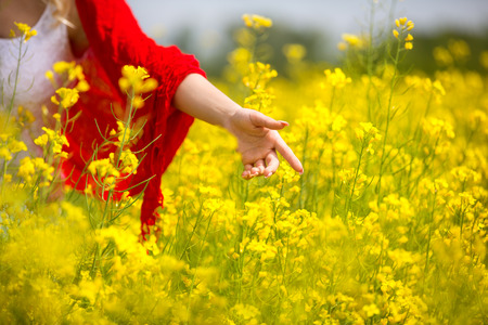 Enjoy and relax in nature, hand touching yellow flowers