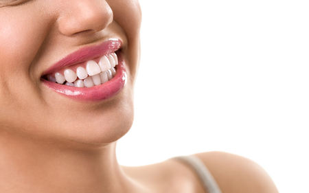 smile close up: Close up of smile with perfect white teeth, happiness woman Stock Photo
