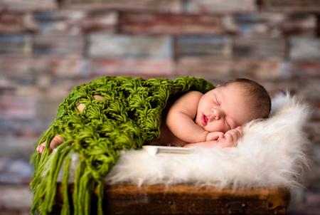 weeks: Newborn baby 2 weeks old peacefully sleeping Stock Photo