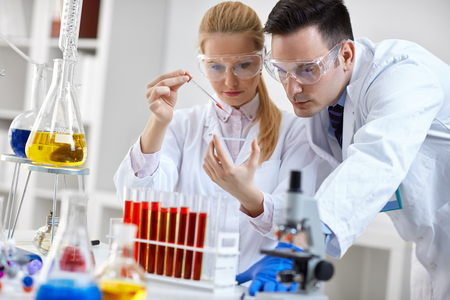 microscope slide: two student looking at a microscope slide in a laboratory