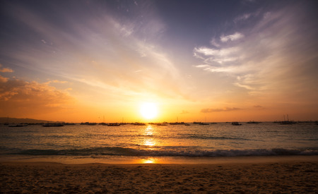 sunset sky: Beautiful colorful sunset sky and ocean, sunrise in the sea, sky background Stock Photo