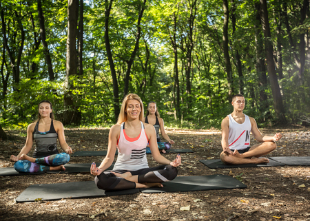 jungle gyms: Three young female doing balance exercises in harmony of nature Stock Photo