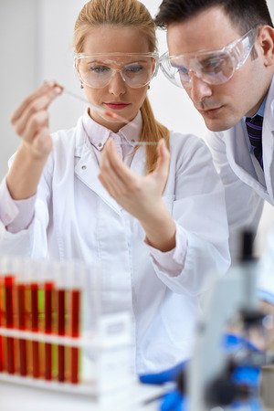 Two young medical researcher doing microbiology experiment