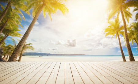 wooden dock: wooden dock with tropical summer background Stock Photo