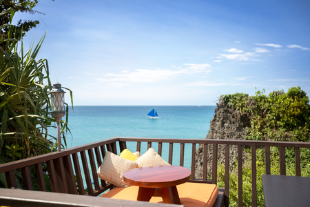 secluded: View on beautiful beach from secluded terrace for rest