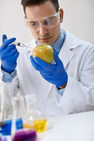 food testing: Food testing in the laboratory GMO food Stock Photo