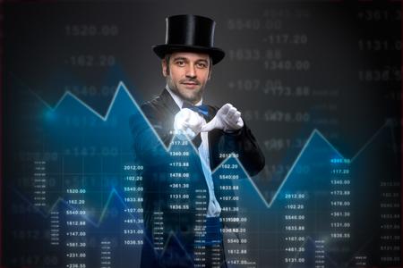 magia mago se aplica a las finanzas, la economía concepto y financiera