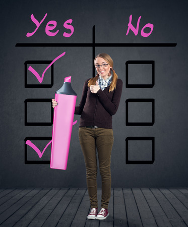creative answers: girl checking reason for yes and no