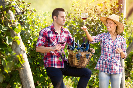 proudly: Proudly couple enjoying in wine in vineyard