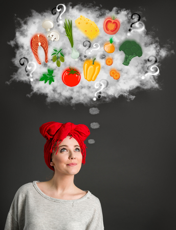 Young woman thinking about healthy food over her head