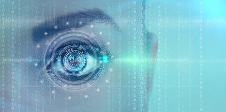 ojo humano: Cerca de los ojos digitales futurista hembra Foto de archivo