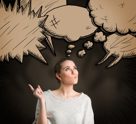 illustrated: Thoughtful woman with different illustrated think clouds over her head