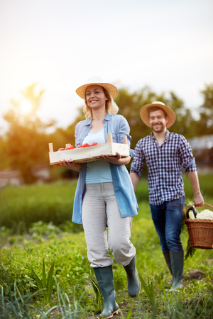 Farmers holding basket and crate with vegetables from field Stock Photo