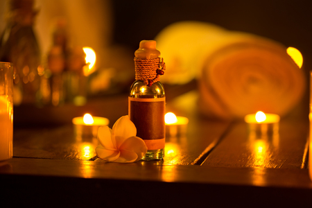 relax massage: Bottle of essential oil, setting for relax massage