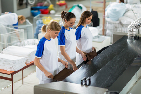 dry cleaner: Woman with pressing machine working Stock Photo