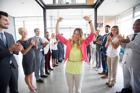 positive confident leader congratulations employer applauding