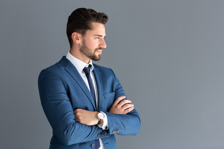 Elegant male model look in distance, side profile image