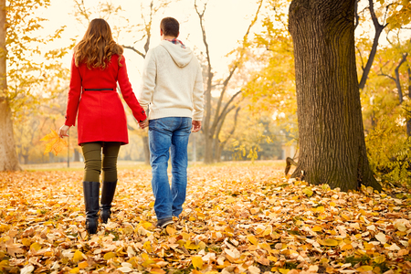 back view: Back view woman and man in love walking in park in autumn