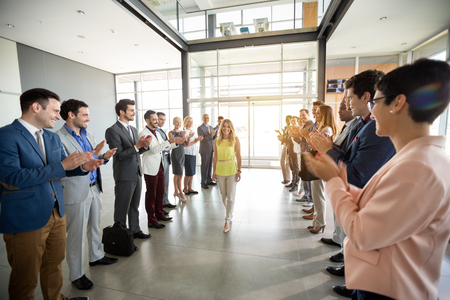 applauding to smile confident leader employer Banque d'images