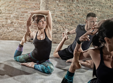 Group of vitality people stretching, flexibility exercise