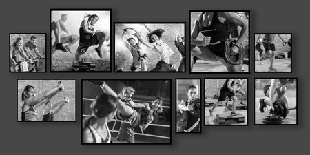 collage of sport photos with people as background