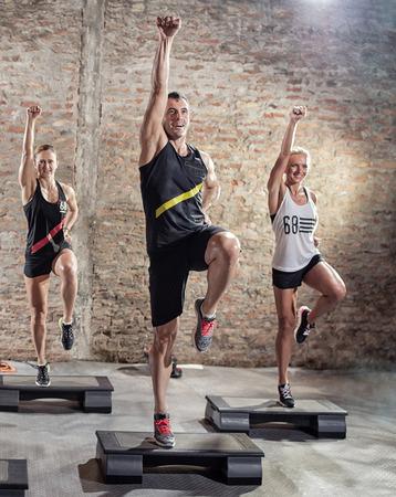 aerobics class: Aerobics class, group of people doing workout