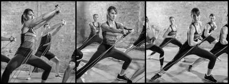 rubber band: Exercising with stretching band collage