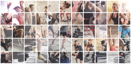 fitness girl: collage of sport photos with people as backgorund