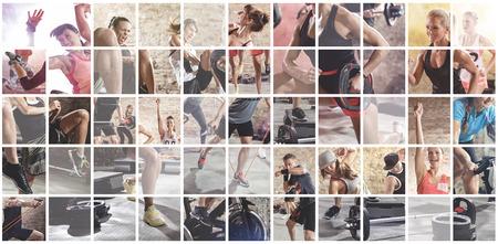 fitnes: collage van de sport foto's met mensen als backgorund