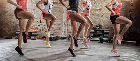 Young sporty women  on group training