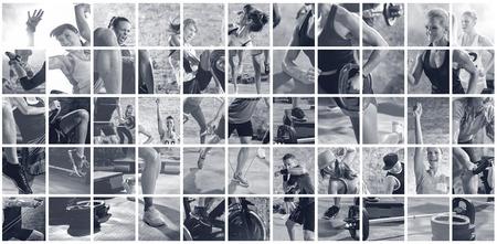 Collage des Sports Fotos mit Menschen als backgorund Standard-Bild - 64031267