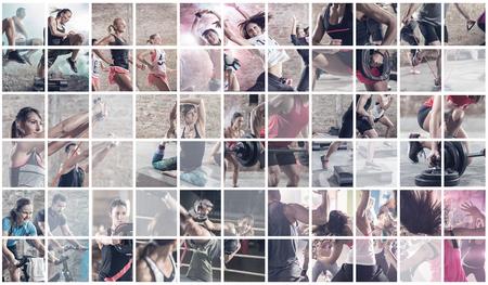 collage van de sport foto's met mensen als backgorund