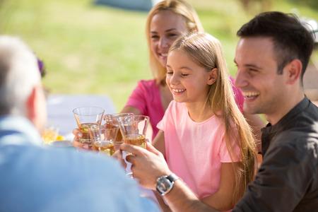 Portrait of girl having picnic with family Zdjęcie Seryjne