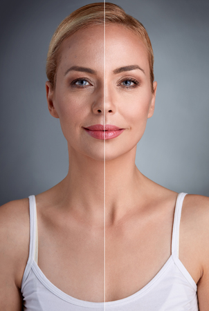 unperfected 피부에 완벽 한 피부와 부분의 일부와 중년 여자의 초상화