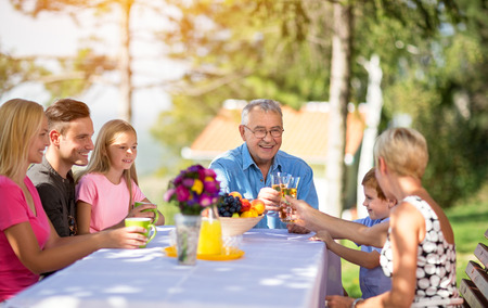 Family with grandparents enjoying outdoor
