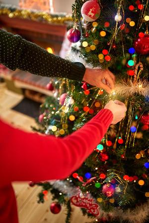decorating christmas tree: Decorating Christmas tree, concept