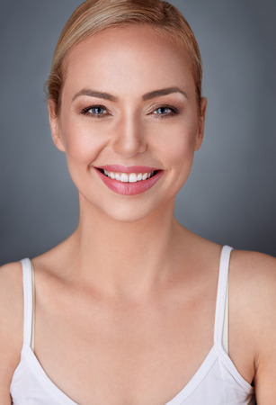 skin care woman:  Beautiful smiling middle aged woman  Stock Photo