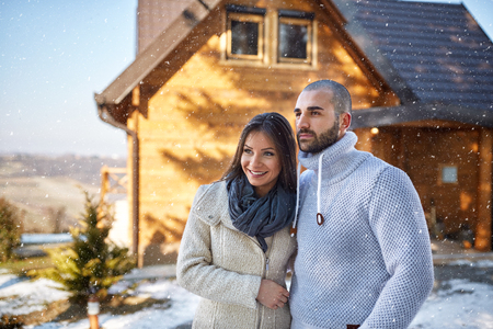 winter holiday: Young couple on winter holiday Stock Photo