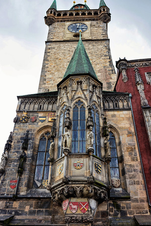 Side view  of church in gothic style in Prague Stock Photo