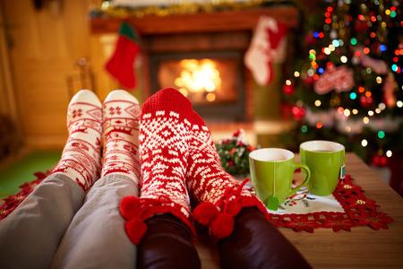 Worm Kerst sokken, concept Stockfoto