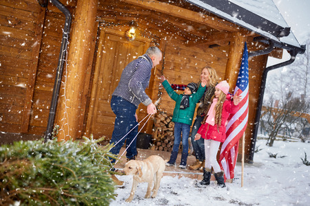 pappy: Happy family with Christmas tree on winter holiday