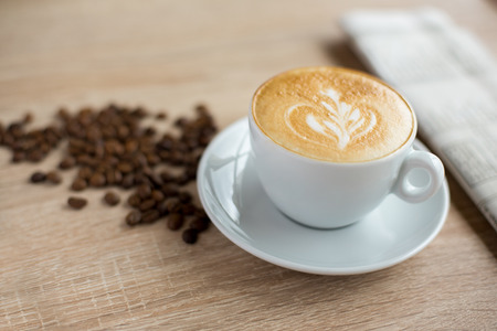 morning with a fresh decoration cup of coffee Stock Photo