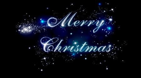 shiny black: Merry Christmas shiny letters on black Stock Photo