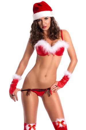 mujeres eroticas: Mujer atractiva de Santa despegar tirando de sus bragas atractivas delicadas