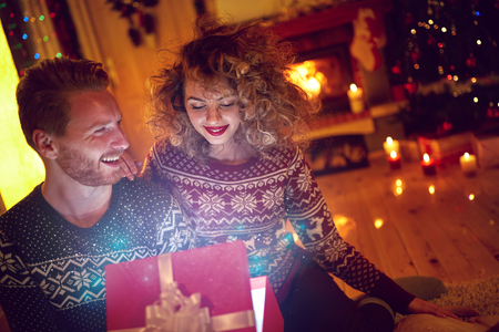 surprise box: Christmas surprise in red box for girl