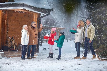 holiday gathering: Christmas holiday- family gathering on Christmas eve