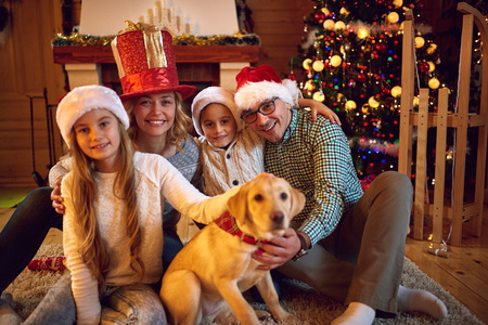 spent: Christmas time spent with family-Young Family Together Stock Photo