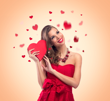 cute love: young cute woman in love, Valentine?s day concepts Stock Photo