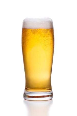 glass of light beer on white background Stock Photo