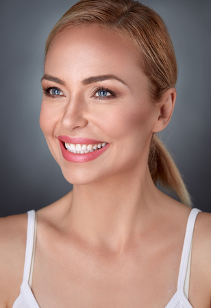 smile face: Beauty portrait pure middle aged woman, skin care concept Stock Photo